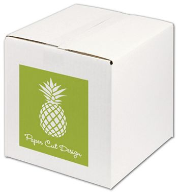 White Printed Corrugated Boxes, 1 Color/1 Side, 10x10x10
