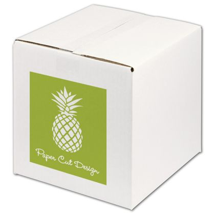 White Printed Corrugated Boxes, 1 Color/1 Side, 10x10x10""