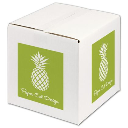 """White Printed Corrugated Boxes, 1 Color/2 Sides, 10x10x10"""""""