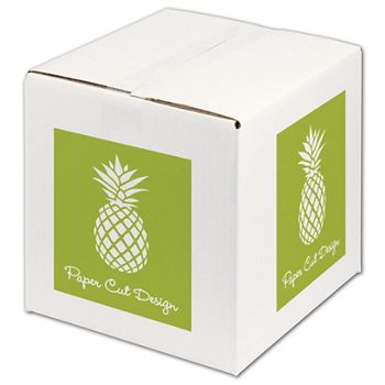 White Printed Corrugated Boxes, 1 Color/4 Sides, 10x10x10