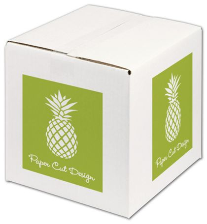 White Printed Corrugated Boxes, 1 Color/4 Sides, 10x10x10""