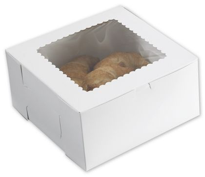 White Windowed Bakery Boxes, 10 x 10 x 5""