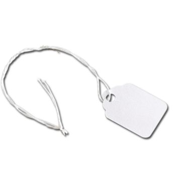 White Merchandise Tags w/ White String, 3/4 x 1 1/8