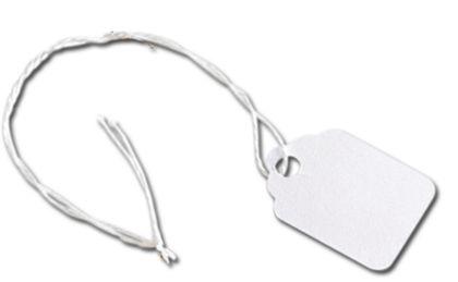 "White Merchandise Tags w/ White String, 3/4 x 1 1/8"""