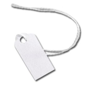 White Merchandise Tags w/ White String, 5/8 x 15/16