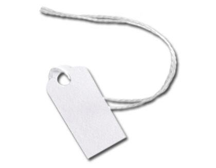 "White Merchandise Tags w/ White String, 5/8 x 15/16"""