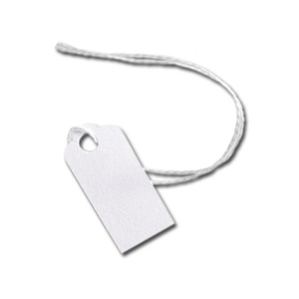 White Merchandise Tags w/ White String, 5/8 x 15/16""