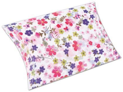 """Pink Flower Pillow Boxes, 3 1/2 x 3 x 1"""""""