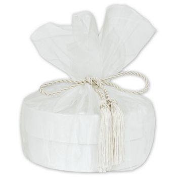 White Organza Wraps with Tassels, 28