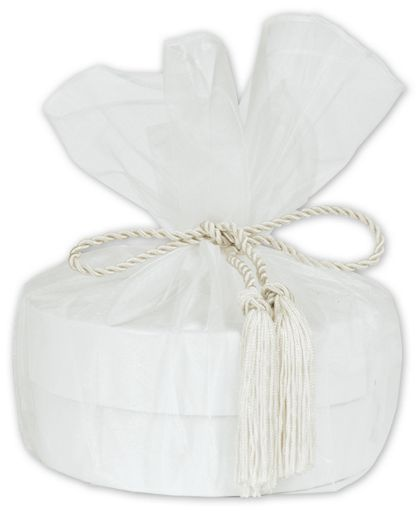 "White Organza Wraps with Tassels, 28"" Diameter"