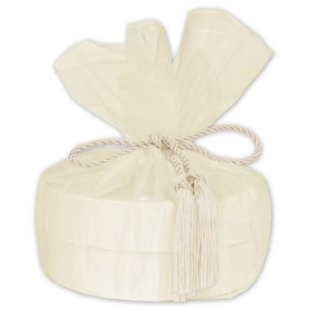 "Ivory Organza Wraps with Tassels, 28"" Diameter"
