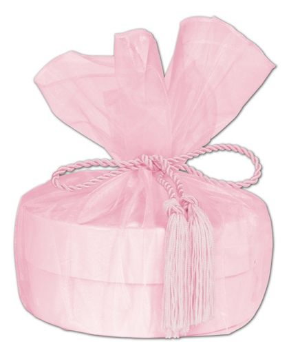 "Pink Organza Wraps with Tassels, 28"" Diameter"
