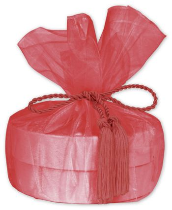 Red Organza Wraps with Tassels, 28