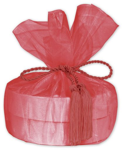 """Red Organza Wraps with Tassels, 28"""" Diameter"""