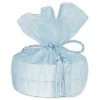 "Light Blue Organza Wraps with Tassels, 28"" Diameter"