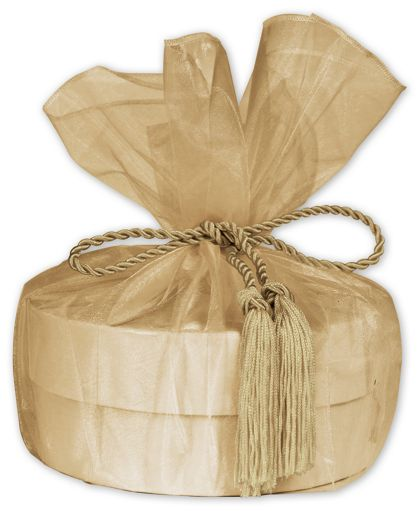 "Gold Organza Wraps with Tassels, 28"" Diameter"