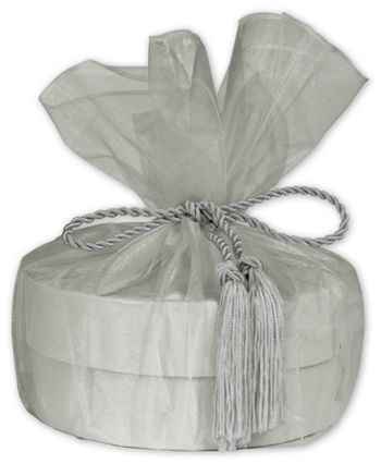 Silver Organza Wraps with Tassels, 28