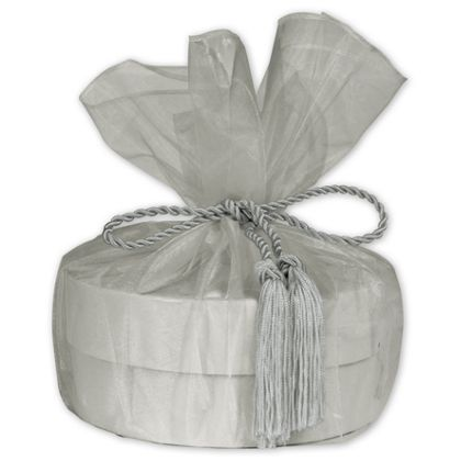 "Silver Organza Wraps with Tassels, 28"" Diameter"