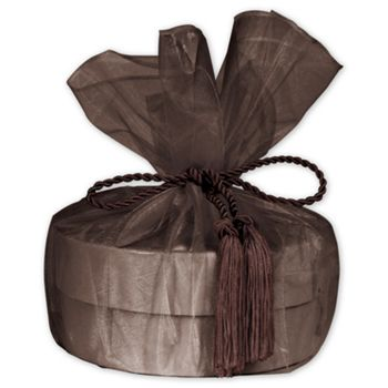 "Brown Organza Wraps with Tassels, 28"" Diameter"