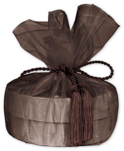 "Brown Organza Wraps with Tassels, 28"" Diameter"