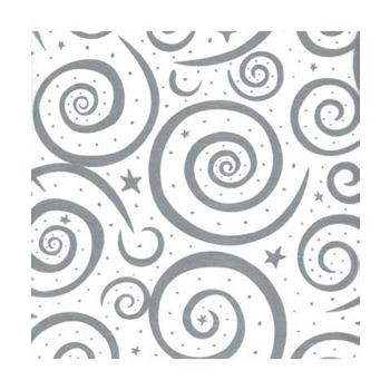 Silver Swirls on White Tissue Paper, 20 x 30