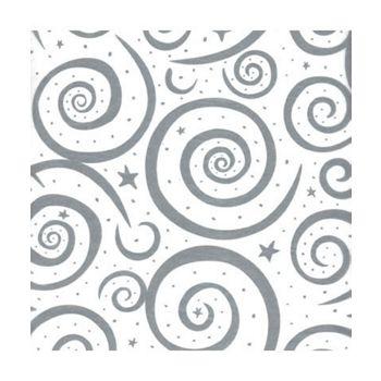 Silver Swirls on White Tissue Paper, 20 x 30