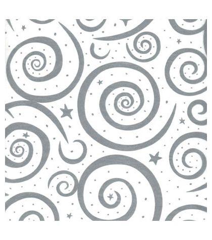 """Silver Swirls on White Tissue Paper, 20 x 30"""""""