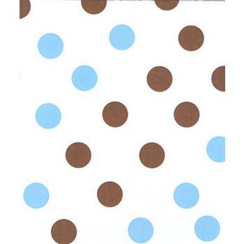 "Brown & Blue Dots Tissue Paper, 20 x 30"""