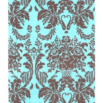 "Brown Aqua Damask Tissue Paper, 20 x 30"""