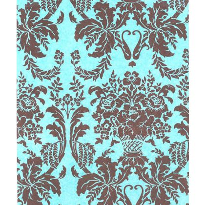 Brown Aqua Damask Tissue Paper, 20 x 30""