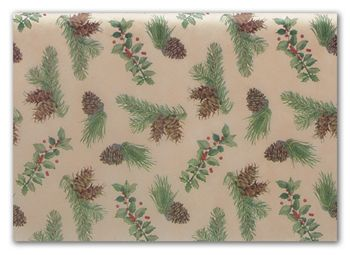 Holly & Cones Tissue Paper, 20 x 30