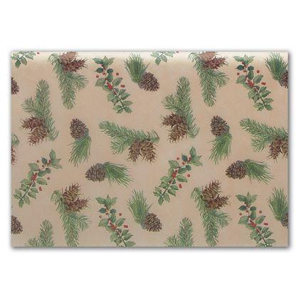 "Holly & Cones Tissue Paper, 20 x 30"""