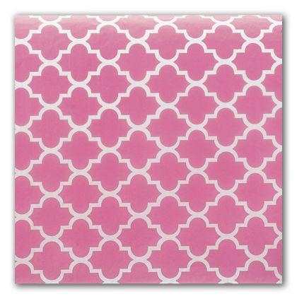 "Pink Quatrefoil Tissue Paper, 20 x 30"""