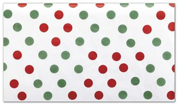 Red and Green Dots Tissue Paper, 20 x 30
