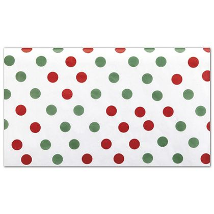 Red and Green Dots Tissue Paper, 20 x 30""
