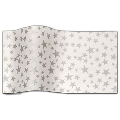 "Silver Stars On White Tissue Paper, 20 x 30"""