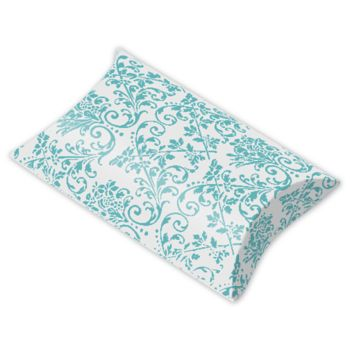 Turquoise/White Damask Pillow Boxes, 3 1/2 x 3 x 1