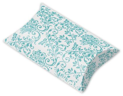 Turquoise/White Damask Pillow Boxes, 3 1/2 x 3 x 1""
