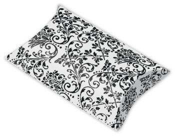 White/Black Damask Pillow Boxes, 3 1/2 x 3 x 1