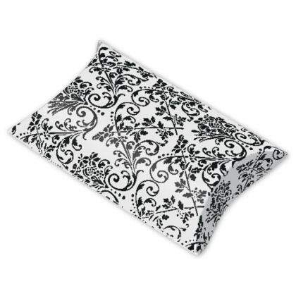 White/Black Damask Pillow Boxes, 3 1/2 x 3 x 1""