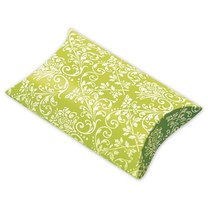 Lime/White Damask Pillow Boxes, 3 1/2 x 3 x 1""