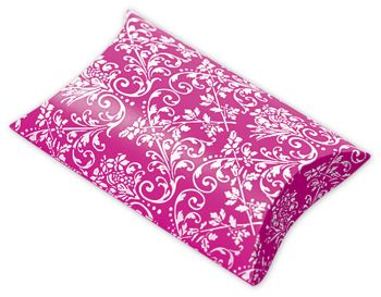 Hot Pink/White Damask Pillow Boxes, 3 1/2 x 3 x 1