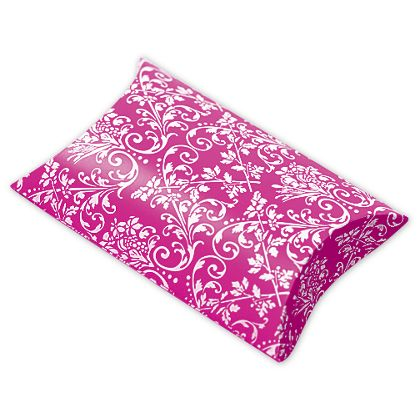 Hot Pink/White Damask Pillow Boxes, 3 1/2 x 3 x 1""