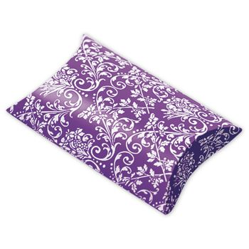 Purple/White Damask Pillow Boxes, 3 1/2 x 3 x 1""