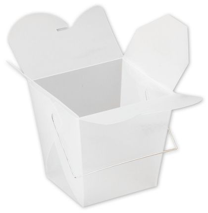"""White Frosted Event Boxes, 4 x 3 1/2 x 4"""""""
