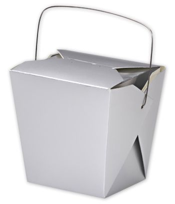 Metallic Silver Paper Event Boxes, 4 x 3 1/2 x 4