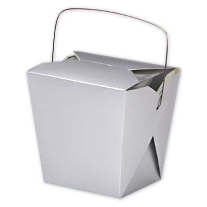 """Metallic Silver Paper Event Boxes, 4 x 3 1/2 x 4"""""""