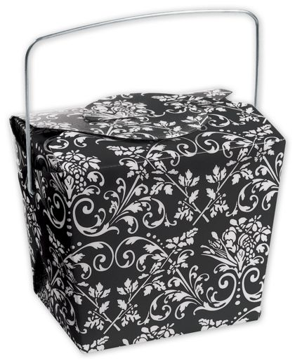 Black Damask Event Boxes, 2 3/4 x 2 x 2 1/2""