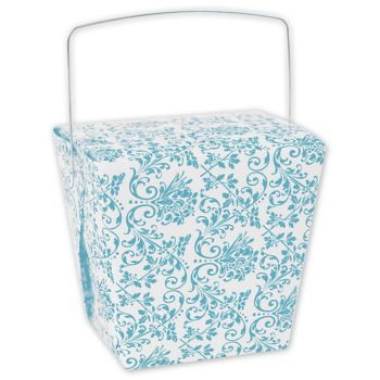 Turquoise Damask Event Boxes, 4 x 3 1/2 x 4