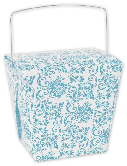 """Turquoise Damask Event Boxes, 4 x 3 1/2 x 4"""""""